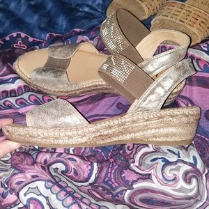 Kanna gold metallic espadrille wedge sandals 38